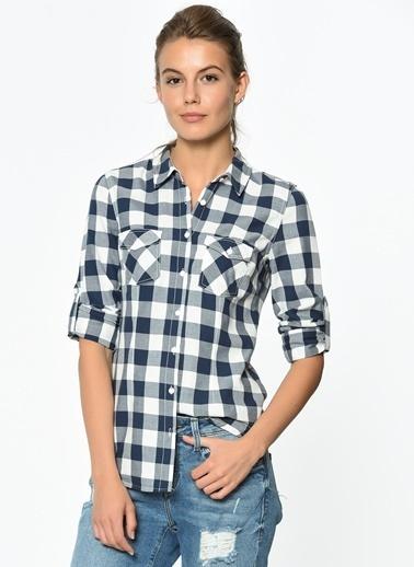 Kolu Katlamalı Gömlek-Mavi